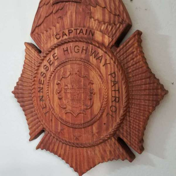 Custom Personalized Tennesee State Trooper Badge  - Personalized Badge 3D V Carved Wood Sign