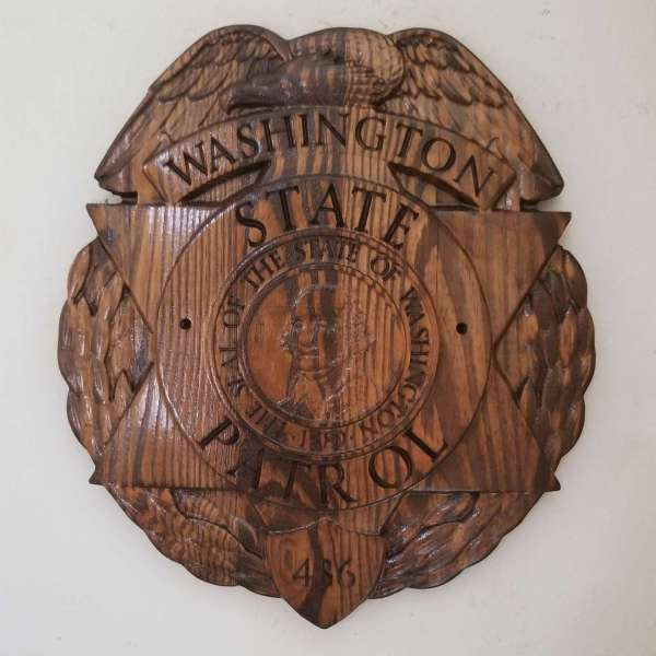 Custom Washington State Patrol Police Badge  - Personalized Badge 3D V Carved Wood Sign