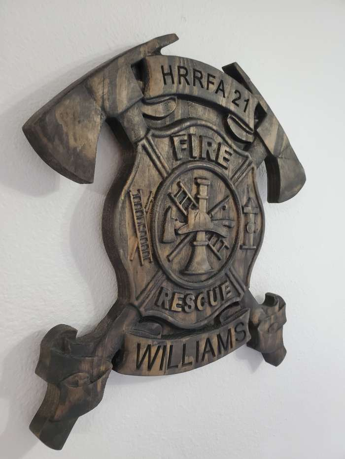 Fire Dept Badge Cross Axes- 3D V CARVED - Personalized Firefighter/Dept Badge V Carved Wood Sign