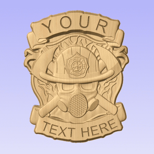 Fire Dept Badge Cross Helmet Axes- 3D V CARVED - Personalized Firefighter/Dept Badge V Carved Wood Sign