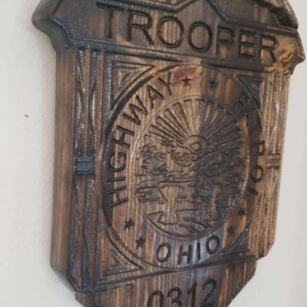 Custom Personalized Ohio State Trooper Badge  - Personalized Badge 3D V Carved Wood Sign