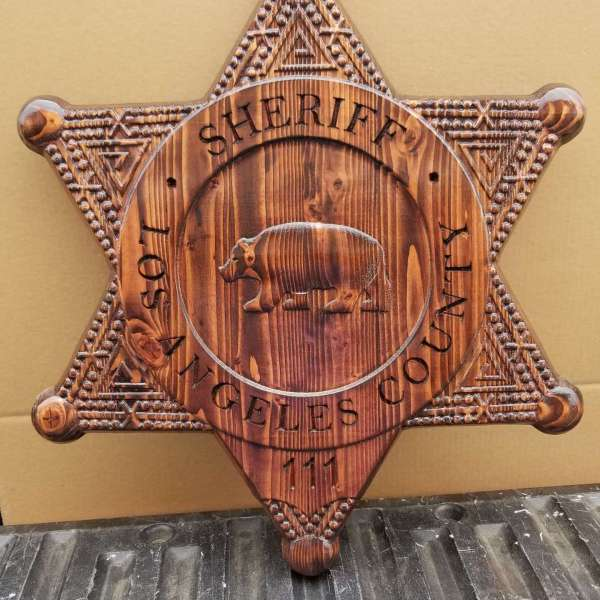 Custom Personalized Los Angeles County Sheriff Badge  - Personalized Badge 3D V Carved Wood Sign
