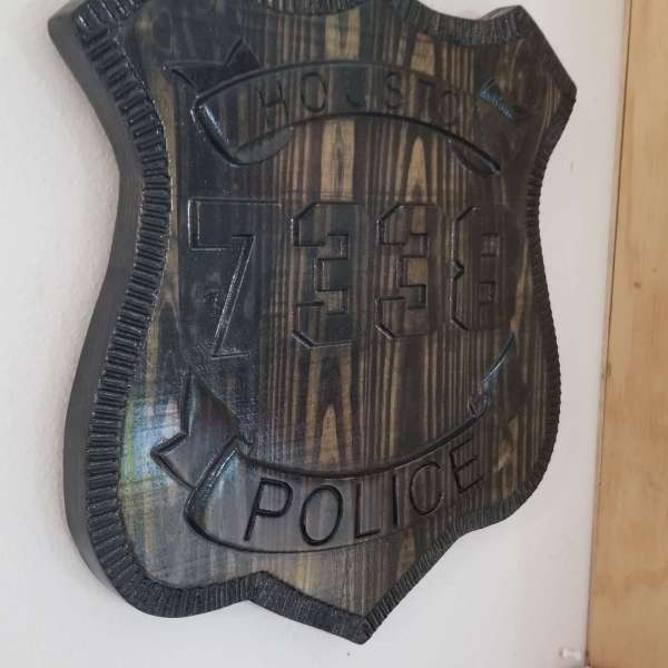 Custom Personalized Houston Police  Badge  - Personalized Badge 3D V Carved Wood Sign