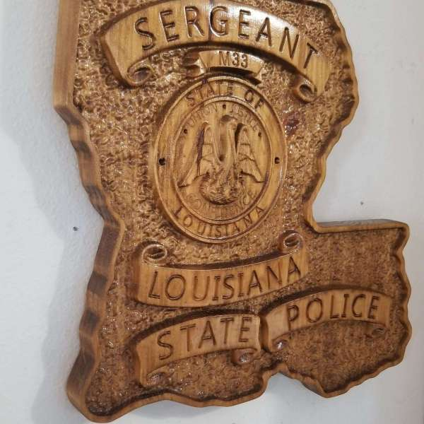 Custom Personalized Louisiana State Police Trooper Sergeant Badge  - Personalized Badge 3D V Carved Wood Sign