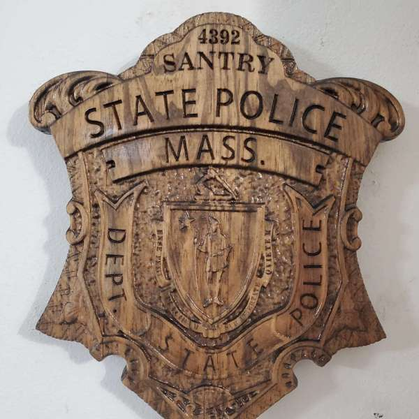 Custom Personalized Massachusetts State Police Trooper Badge  - Personalized Badge 3D V Carved Wood Sign