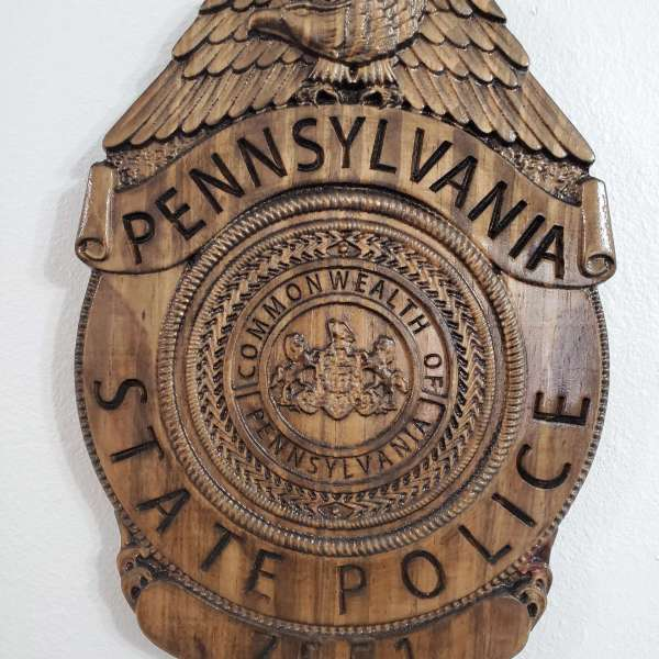 Custom Personalized Pennsylvania State Trooper Badge  - Personalized Badge 3D V Carved Wood Sign
