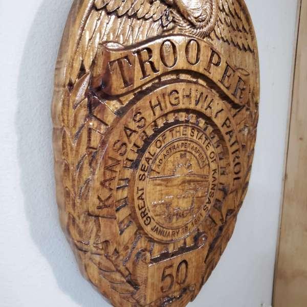 Custom Personalized Kansas State Highway Patrol Trooper Badge  - 3D V Carved Wood Sign