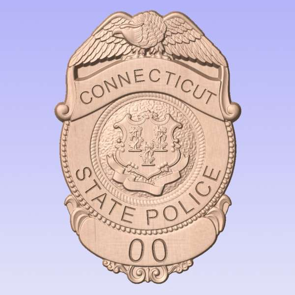 Custom Personalized Connecticut State Police Trooper Badge  - Personalized Badge 3D V Carved Wood Sign