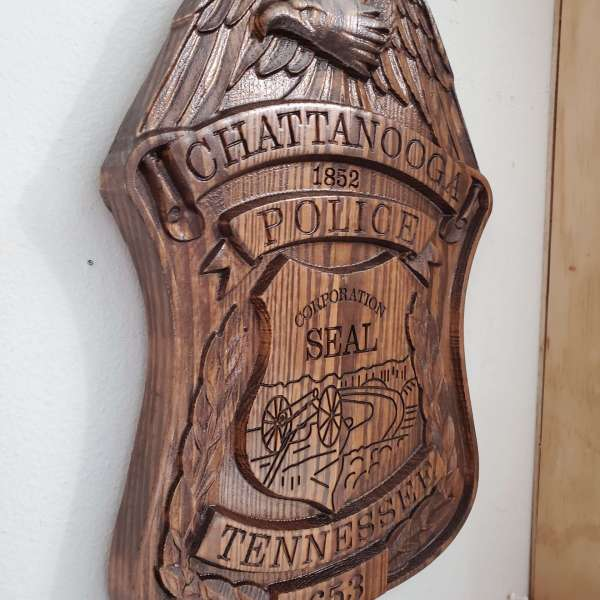 Custom Personalized Chattanooga Tennessee Badge  - Personalized Badge 3D V Carved Wood Sign