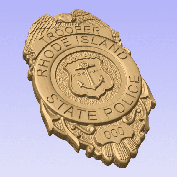 Custom Personalized Rhode Island State Police Badge  - Personalized Badge 3D V Carved Wood Sign
