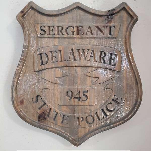 3D V CARVED - Personalized Delaware State Trooper Police Badge V Carved Wood Sign