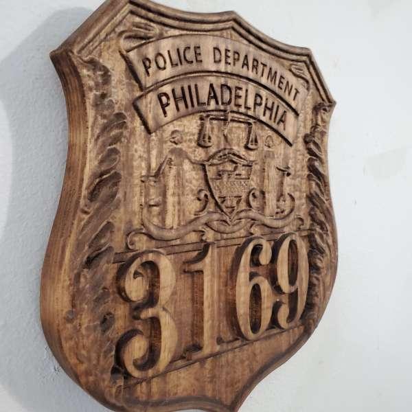 Personalized Philadelphia Pennsylvania Police Badge V Carved Wood Sign  - 3D V Carved Wood Sign